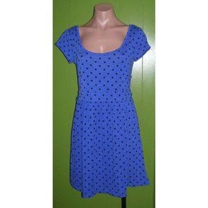 New Blue Black Dot Dress Jr M Twist Back Stretch